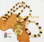 Ethnic Men Necklaces African Beaded Jewelry Bracelet Gift Set
