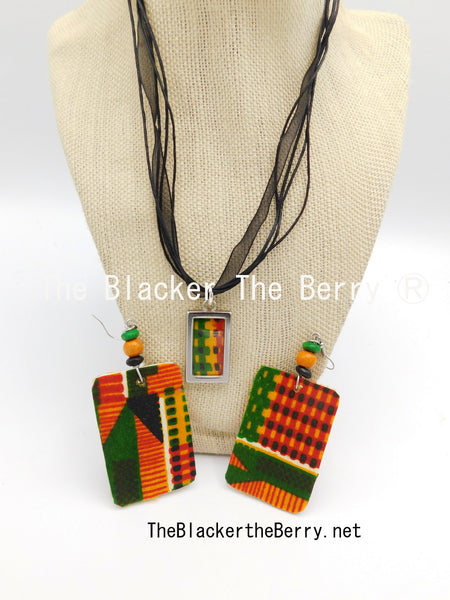 African Kente Jewelry Set Necklace Adjustable Earrings