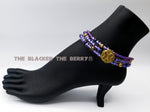 Anklet African Adinkra Ethnic Jewelry Purple Women