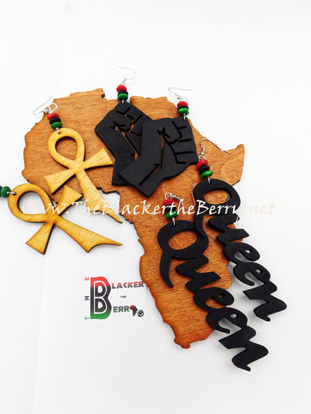 African Earrings Wooden RBG Hand Painted Women Jewelry