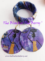 African Jewelry Purple Ankara Jewelry Set Bracelet Earrings Handmade