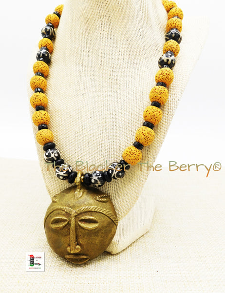 African Mask Necklace Men Beaded Jewelry Afrocentric Yellow Brass Handmade OOAK