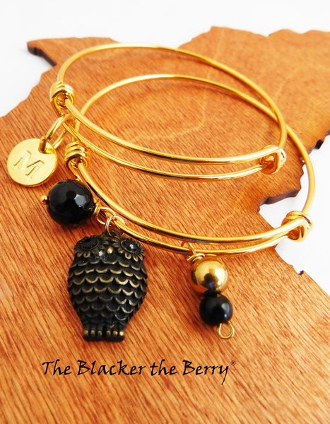Personalized Owl Bracelet Charm Jewelry Women Bangle Gold Tone
