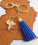 Africa Key Chain Purse Charm Gold Ethnic Car Accessories