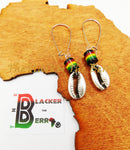 Silver Cowrie Earrings Rasta Jewelry Women