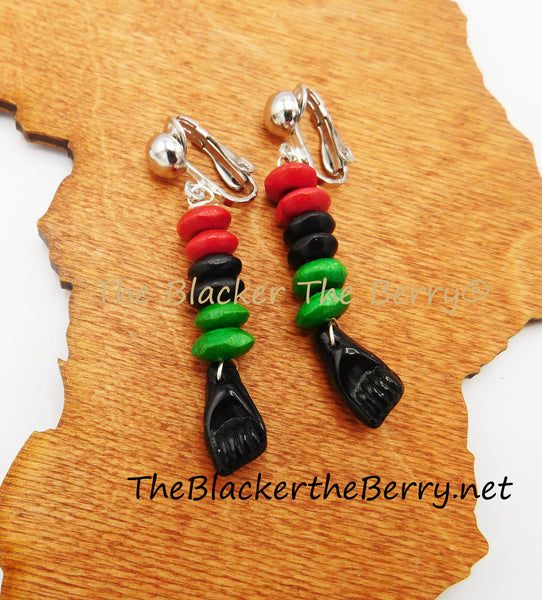 Black Power Fist Non Pierced RBG Earrings Pan African Beaded Jewelry Clip On
