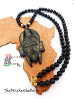 Men African Mask Necklace Beaded Jewelry Black Brass