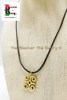 Dwennimmen Charm African Adinkra Gold Jewelry Black Necklace Adjustable