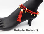 Anklets Red Beaded Women Jewelry Dancing Handmade