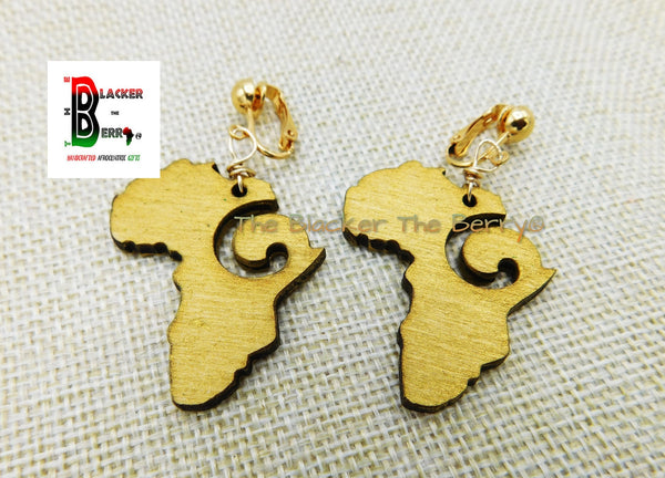 Gold Africa Clip On Earrings Non Pierced Wooden Jewelry