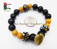 African Cowrie Bracelets Black Orange Beaded Men Women Gift Ideas Ethnic Afrocentric Jewelry