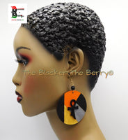 Ankh Earrings Ethnic Wooden Jewelry Hand Painted Orange Black Silver