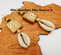 Cowrie Shell Earrings Animal Print Jewelry Ethnic Women
