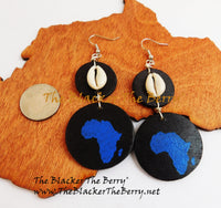 Africa Earrings Wooden Afrocentric Jewelry Blue Black The Blacker The Berry®