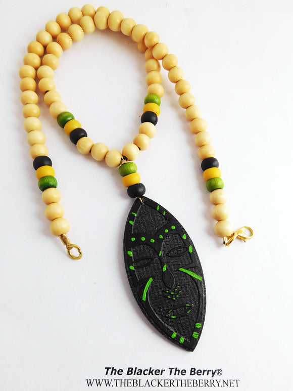 Wooden African Mask Necklace Black Green Beaded Jewelry