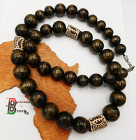 Men African Necklaces Gye Nyame Beaded Jewelry Large