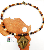 African Men Necklace Wooden Jewelry Ethnic Brass The Blacker The Berry®