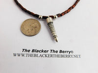 Tribal Necklace Beaded Jewelry Wooden Silver Pendant