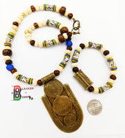 African Jewelry Set Necklace Bracelet Cream Black Brass Men Women