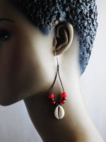 Cowrie Shell Earrings Red Beaded Ethnic Jewelry