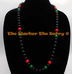 Pan African Necklace Red Black Green Jewelry Large Beads