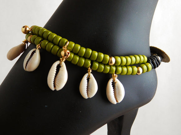 Sankofa Anklet Green Beaded Ethnic Leather Cowrie Shell