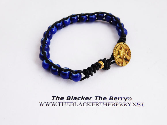 African Bracelets Turtle Beaded Blue Jewelry Leather