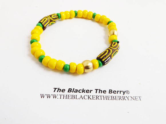 African Bracelet Beaded Yellow Green Brown Ethnic Jewelry