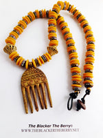 African Duafe Comb Jewelry Necklaces Yellow Beaded Ethnic