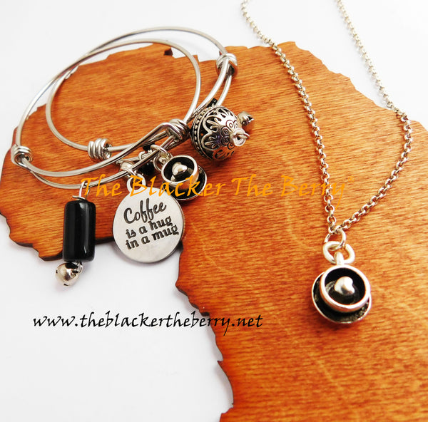 Coffee Lovers Jewelry Set Bracelet Necklace Women