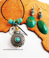 Tribal Ethnic Necklaces Bohemian Jewelry Turquoise Blue Silver Earrings Women