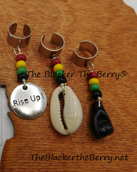 Hair Accessories Rasta Jewelry Beaded Black Power Cowrie Set