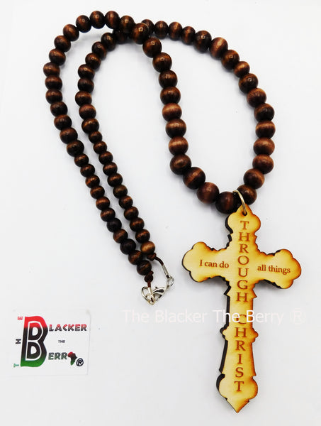 Large Men Cross Christian Necklace Jewelry Wood Beaded