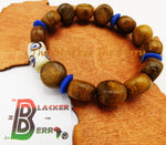 Men Ethnic Bracelet Wooden Blue Beaded Jewelry