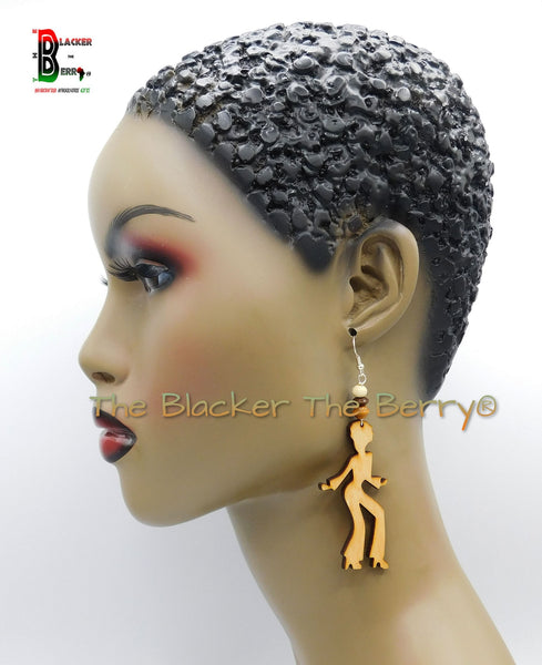 Black Women Earrings Silhouette Jewelry Wooden Sale
