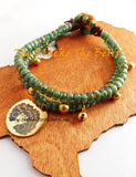 Diva Anklet Gold Green Jewelry Women Handmade