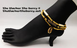 Cowrie Shell Anklet Beaded Brown Glass Beaded Handmade Women
