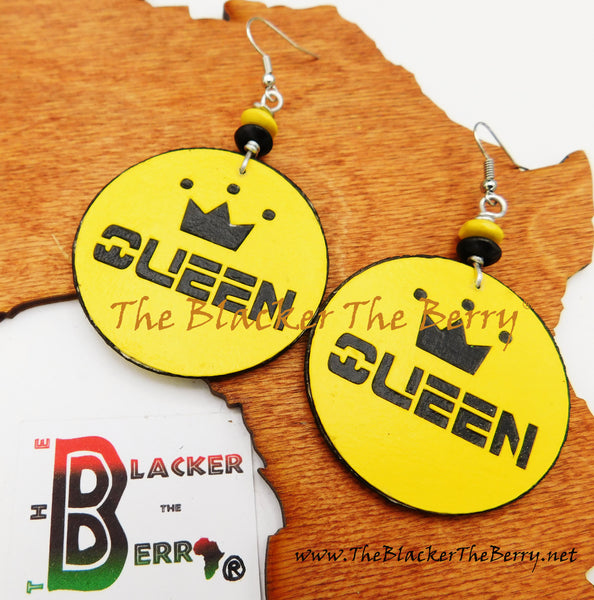 Queen Earrings Yellow Black Women Jewelry
