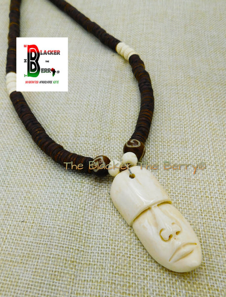 African Men Necklace Carved Face Jewelry Beaded Afrocentric Brown Ethnic OOAK