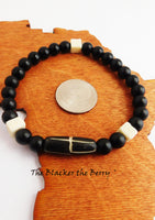 Black Ethnic Beaded Bracelet Cream Men Women Stretch