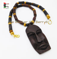 Large African Men Mask Necklace Ebony Wood Ethnic Jewelry Beaded Sale