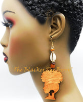 Ethnic Earrings African Woman Silhouette Jewelry Long