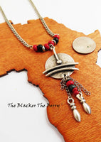 Women Ethnic Necklace Beaded Silver Red Jewelry