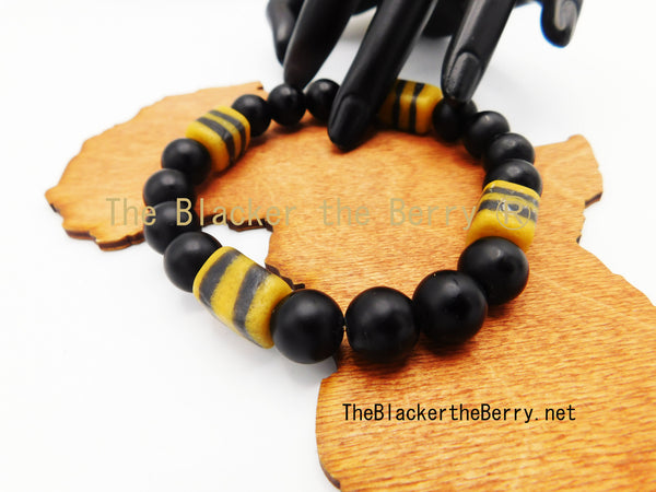 Large African Beaded Men Bracelet Yellow Black Owned Jewelry