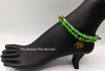 Elephant Anklet Summer Green Handmade Beaded Women