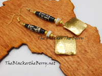 Hammered Brass Earrings Women Jewelry Beaded Handmade