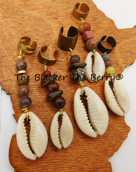 Cowrie Shell Hair Accessories Handmade Beaded Ethnic Black Owned Business