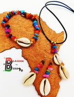 Cowrie Jewelry Set Colorful Summer Women Ethnic
