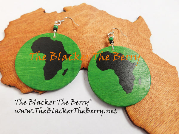 African Earrings Wooden Green Black The Blacker The Berry®