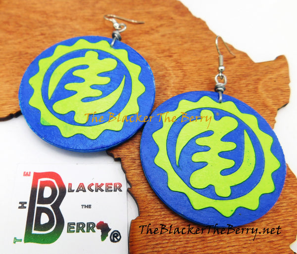 African Gye Nyame Earrings Blue Green Handmade Jewelry